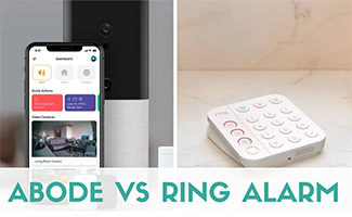 Abode security app and Ring control panel (caption: Abode vs Ring Alarm)