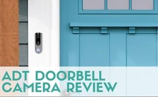 ADT Doorbell Camera on door (caption: ADT Doorbell Camera Review)