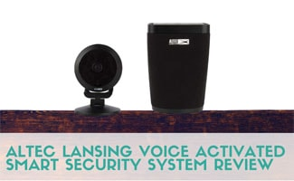 Altec Lansing Voice Activated Smart Security System on shelf (caption: Altec Lansing Voice Activated Smart Security System Review)