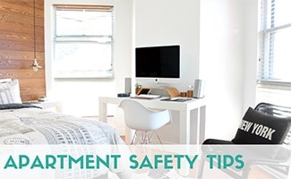 Inside apartment bedroom (caption: Apartment Safety Tips)