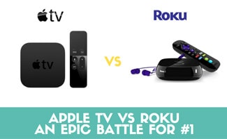 Apple TV with remote and Roku side by side