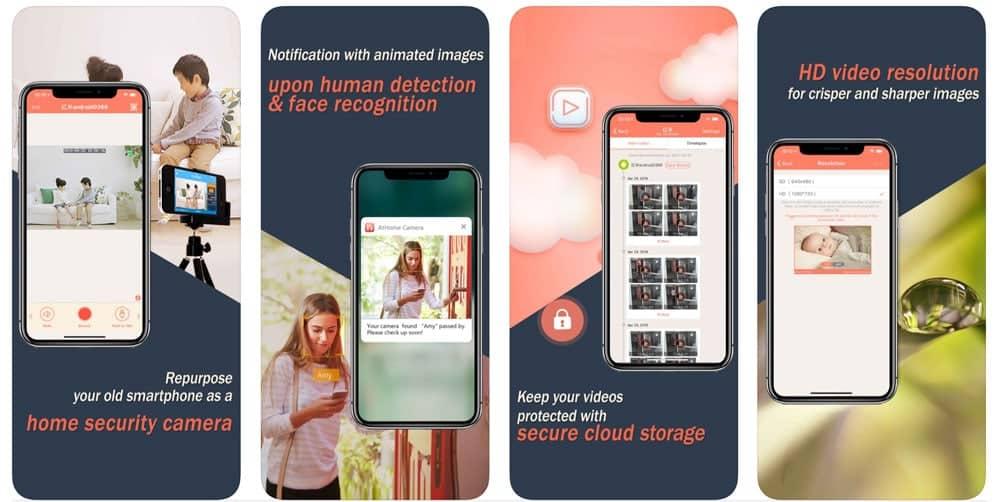 AtHome home security camera iOS app screenshots