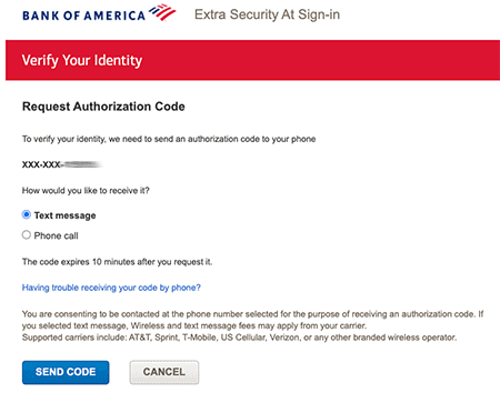 Bank of America login screen asking for text message verification