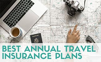 Person planning travel with map and computer (caption: Best Annual Travel Insurance Plans)