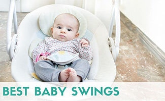 Baby in swing (caption: Best Baby Swings)