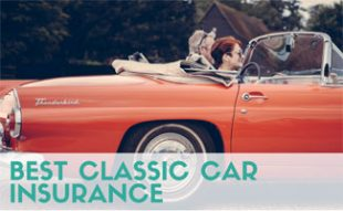 People riding in classic car
