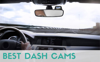 Man driving with dash cam on windshield (Caption: Best Dash Cams)