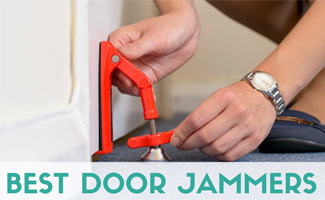 Close up of person installing DoorJammer on door (Caption: Best Door Jammers)