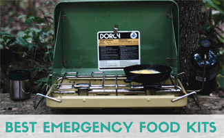 Outdoor camping stove with frying pan and egg (caption: Best Emergency Food Kits)