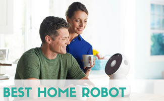 Couple with smart robot on counter (caption: Best Home Robot)