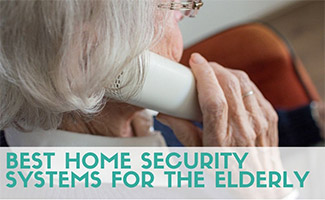 Old woman talking on phone (caption: Best Home Security Systems For The Elderly)