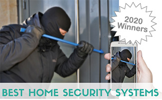 Burglar breaking into house tracking on smart phone app (caption: What's The Best Home Security System In 2020)