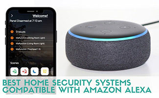 Smart phone with Alexa (caption: Best Home Security Systems Compatible With Amazon Alexa)