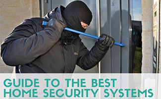 Burglar prying door open with crowbar (caption: Guide to The Best Home Security Systems)