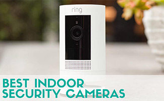 Ring stick camera on table (caption: Best Indoor Security Cameras)