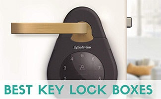 Igloohome Lockbox on door handle (caption: Best Key Lock Boxes)