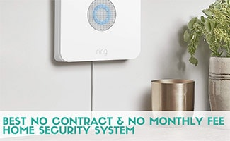 Ring alarm on wall (caption: Best No Contract & No Monthly Fee Home Security System)