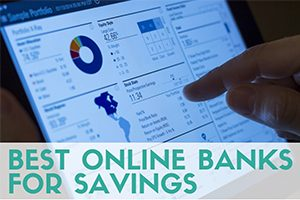 Person finger on screen of online bank (caption: Best Online Banks For Savings)