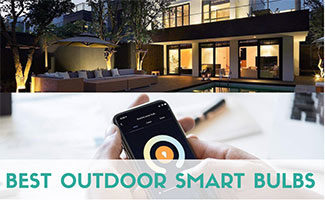 Outside of home with lights & control from phone (caption: Best Outdoor Smart Bulbs)