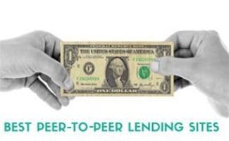 Hands holding a dollar bill (caption: Best Peer-To-Peer Lending Sites)