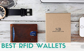 RFID wallet on table with phone and watch (caption: Best RFID Wallets)