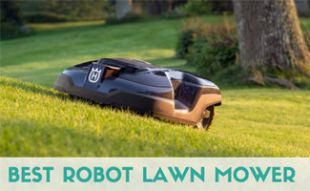 Husqvarna robot lawn mower in yard