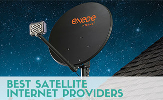 Exeded satellite internet dish on roof