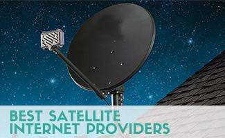 Satellite on roof of house at night (caption: Best Satellite Internet Providers)
