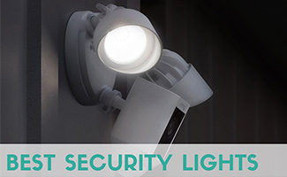 Ring outdoor light with camera at night (Caption: Best Security Lights)