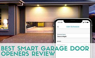 Chamberlain app with garage door behind it (caption: Best Smart Garage Door Openers Review)
