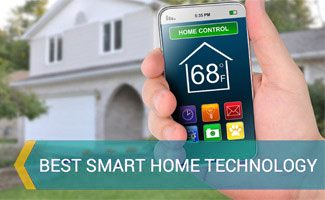 Person on smart phone controlling house: Smart Home Technology