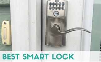 Smart lock on door next to doorbell (caption: Best Smart Lock)