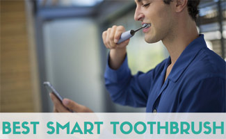 Man cleaning teeth with Smart Toothbrush