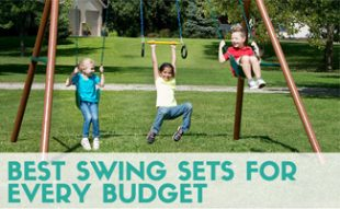 Kids playing on swing set