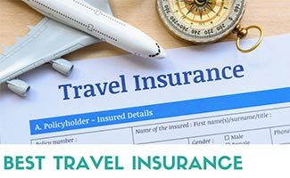 Travel insurance paper with plane and compass (caption: Best Travel Insurance)