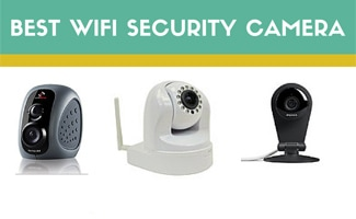 Three wifi security cameras on a blank canvas (Caption: Best Wifi Security Camera)