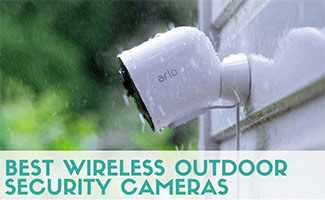 Nest camera on outside of house in rain (caption: Best Wireless Outdoor Security Cameras)
