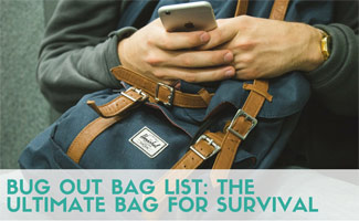 Person on phone with bag (caption: Bug Out Bag List: The Ultimate Bag For Survival)