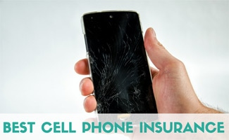 Man holding cracked cell phone (caption: Best Cell Phone Insurance)