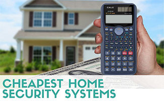 House with calculator and money (Caption: Cheapest Home Security Systems)