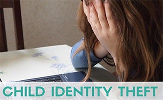 Young girl upset at computer (caption: Child Identity Theft)