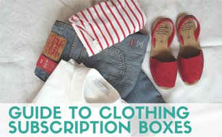 Clothing Subscription unboxed on bed (Caption: Guide to Clothing Subscription Boxes)