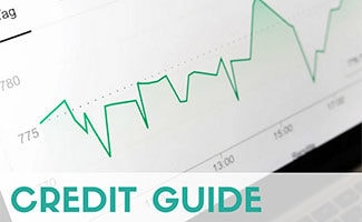Credit score graph on screen (caption: Credit Guide)