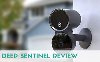 Deep Sentinel camera on outside of home (caption: Deep Sentinel Review)