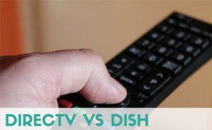 Man holding remote: DIRECTV vs DISH