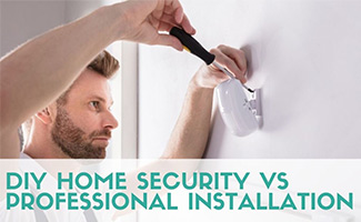Man installing home security camera (caption: DIY Home Security vs Professional Installation)