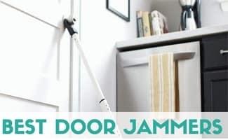Masterlock in kitchen propping door up (caption: Best Door Jammer)