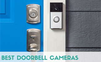 Ring doorbell posted on a front door (Caption: Best Doorbell Cameras)