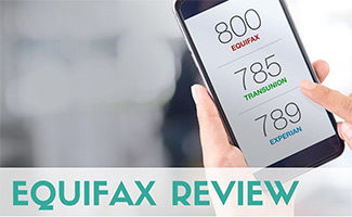 Person holding phone with Equifax App (caption: Equifax Review)