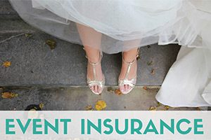 Bride shoes on stairs (caption: Event Insurance)
